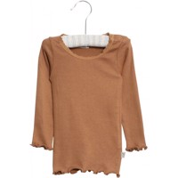 Wheat - Rib T-shirt Lace LS // Caramel