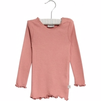 Wheat - Rib T-shirt Lace LS // Soft Rouge
