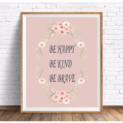 Plakat A4 be happy, be kind... rosa