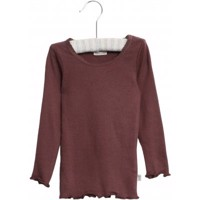 Wheat - Rib T-shirt Lace LS // Soft Eggplant