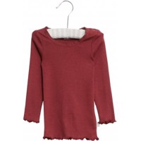 Wheat - Rib T-shirt Lace LS // Burgundy