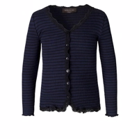 Rosemunde SOFT CARDIGAN WITH LACE Blå/sort WITH STRIPES