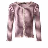 Rosemunde SOFT CARDIGAN WITH LACE rose/bourgogne WITH STRIPES