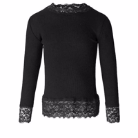 Rosemunde Silk T-shirt LS Turtleneck, Black
