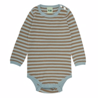 FUB - Baby body LS //dustyblue/camel