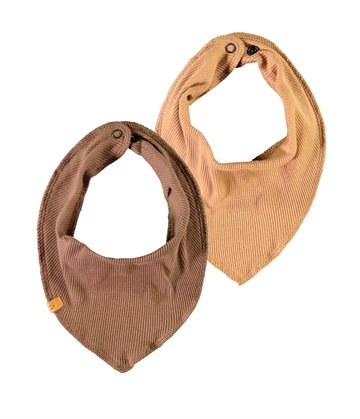 Lil' Atelier - BABY |  Mimio Bib Scarf (2-pack) // Tobacco Brown