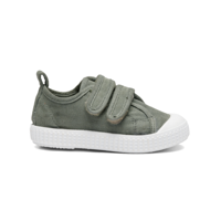 PomPom - Canvas Velcro Shoe // Light Olive