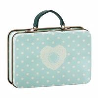 Maileg - Metal Suitcase, cream, Mint dots