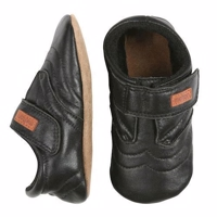 Melton, Leather Shoe - Velcro, black 5-8 år